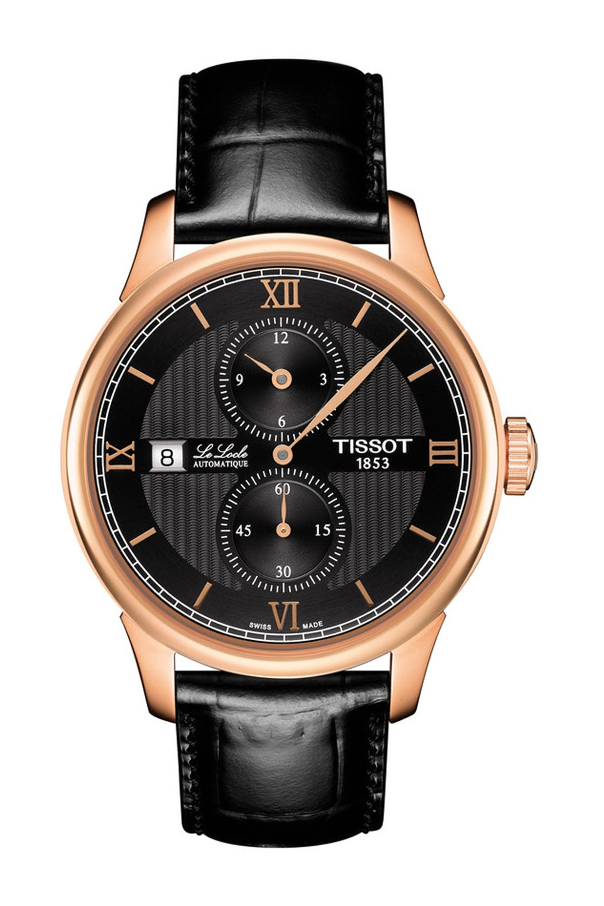 Image of Tissot Men's Le Locle Croc Embossed Leather Strap Swiss Automatic Watch, 39mm