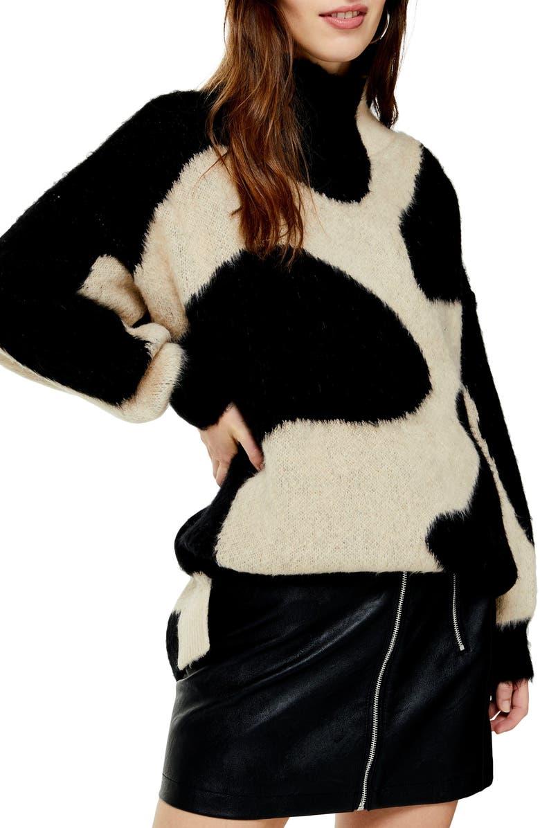 TOPSHOP Swirl Pattern Sweater, Main, color, BLACK MULTI