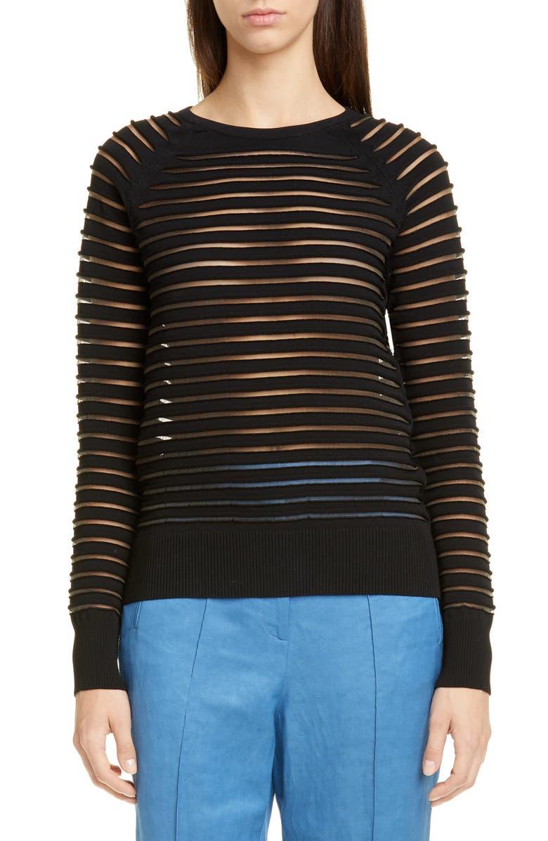PARTOW Margot Sheer Stripe Sweater, Main, color, BLACK