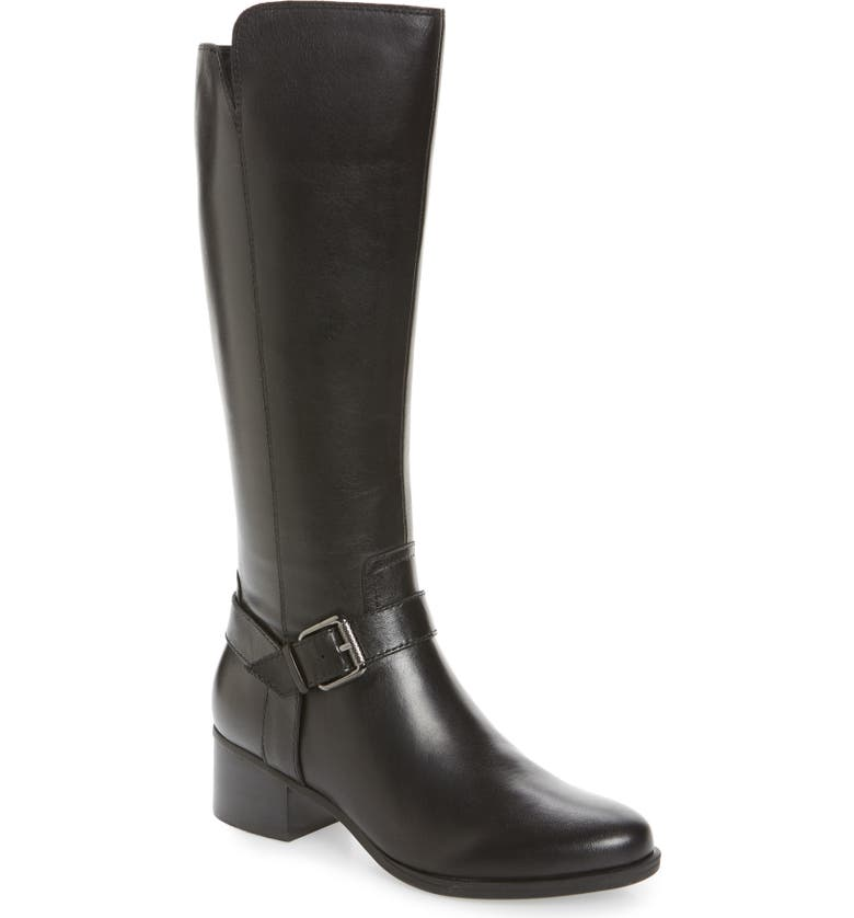 NATURALIZER Dalton Tall Boot, Main, color, BLACK LEATHER