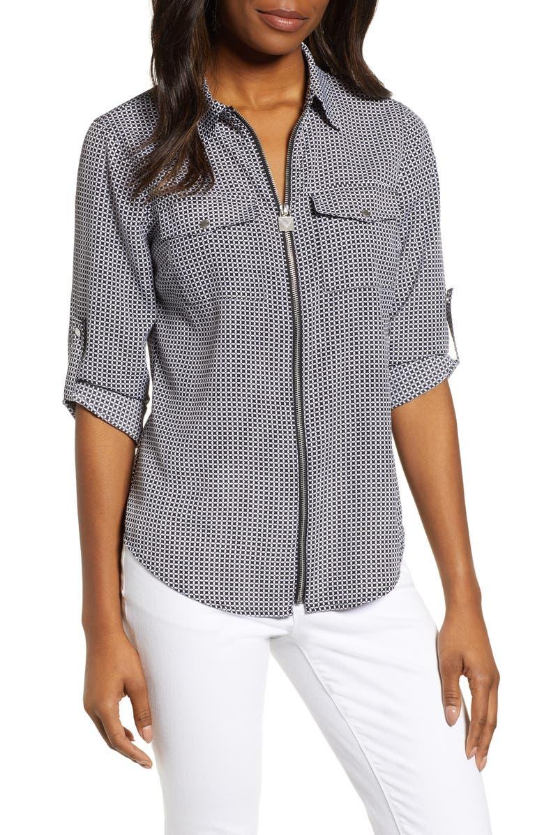 MICHAEL MICHAEL KORS Geo Print Mini Lock Zip Front Shirt, Main, color, BLACK / WHITE