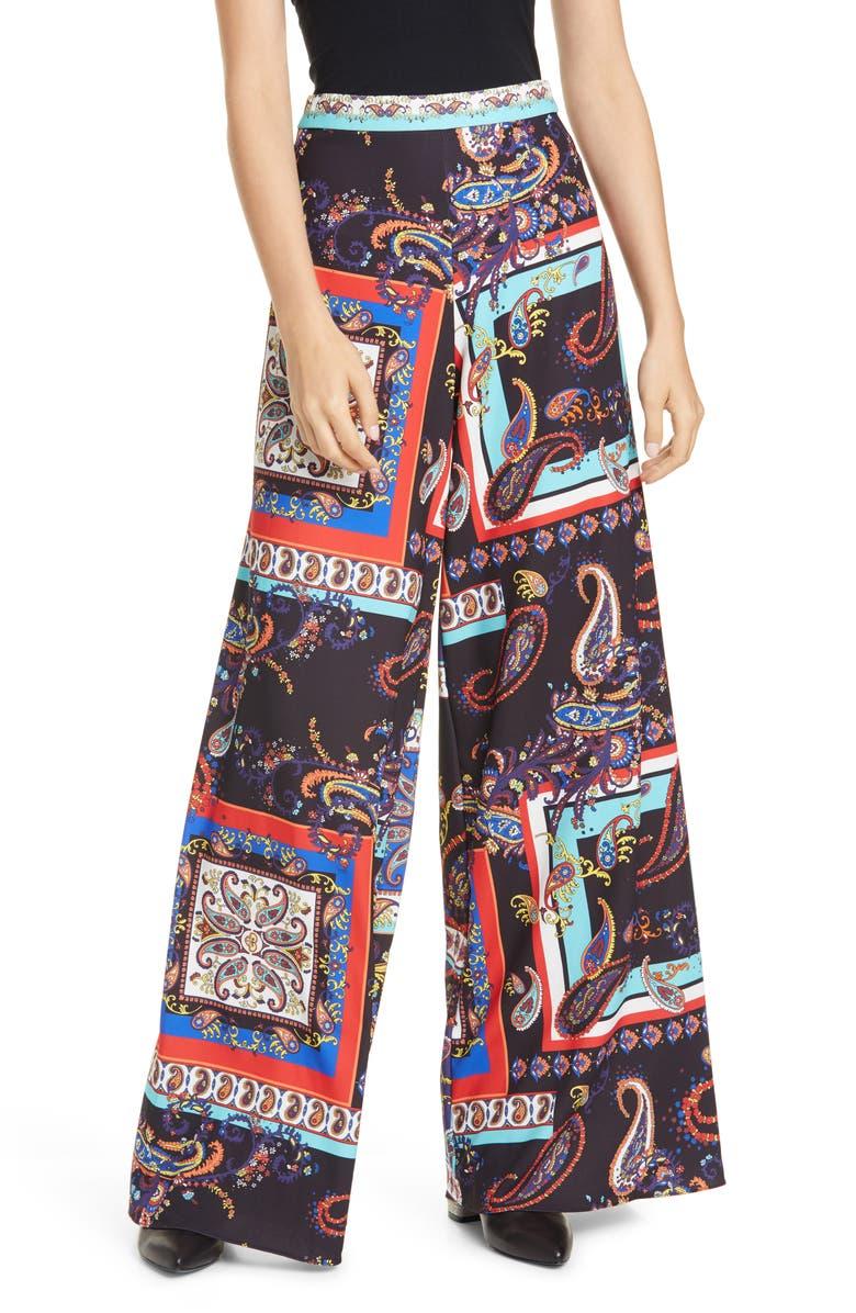 ALICE + OLIVIA Athena Print Super Flared Wide Leg Pants, Main, color, ROYALTY PAISLEY