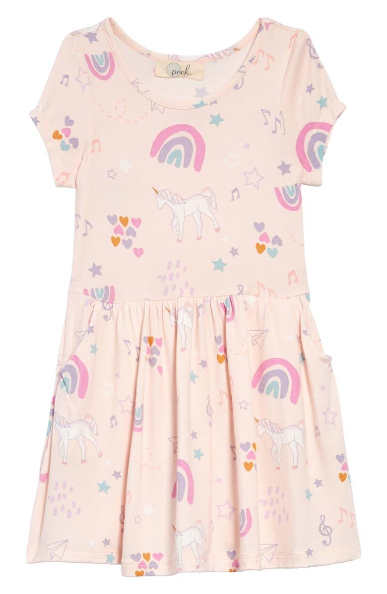 PEEK AREN'T YOU CURIOUS Candice Unicorn Print Dress, Main, color, PINK