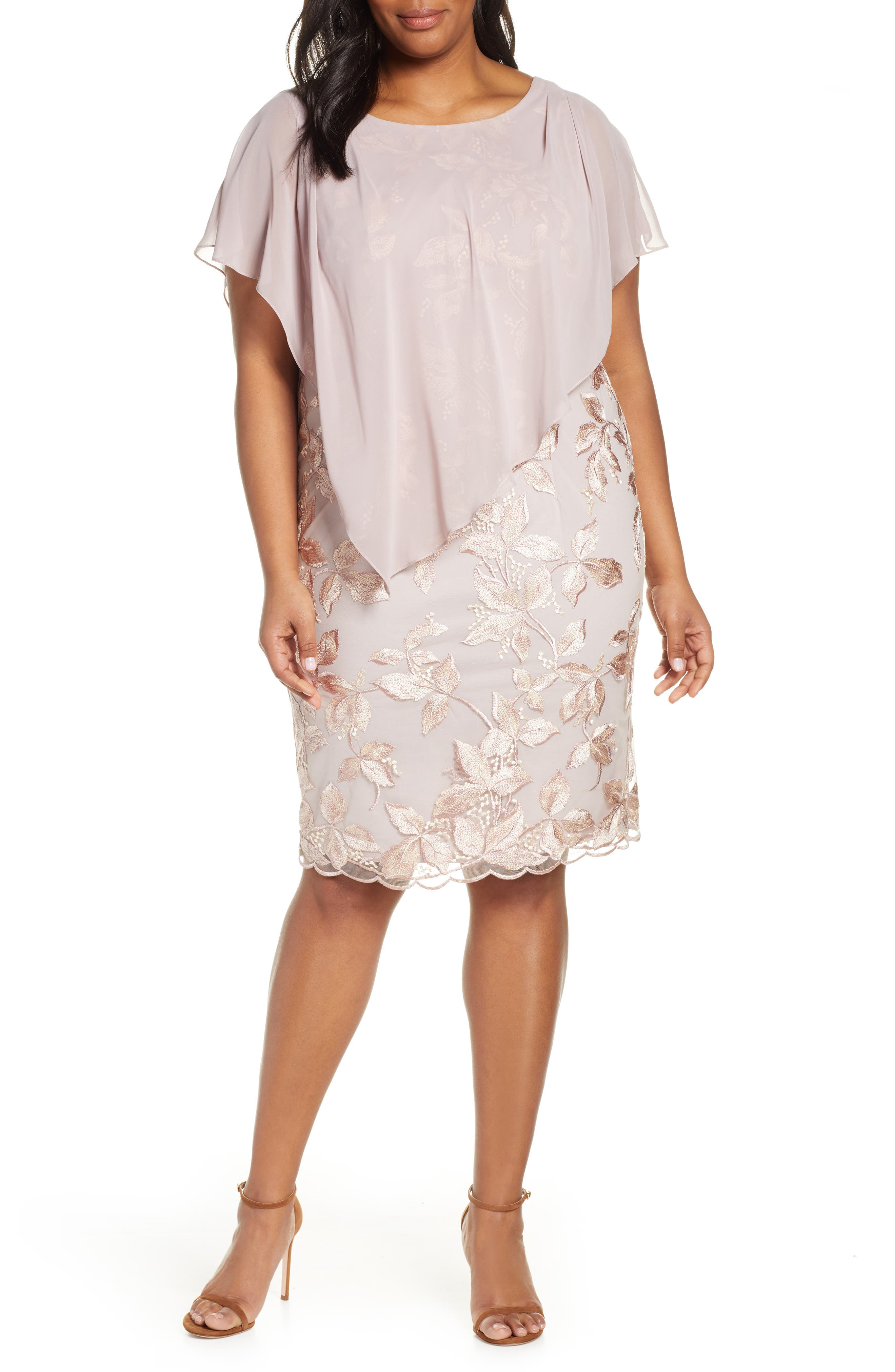 a58f711b6967 Plus Size Alex Evenings Overlay Embroidered Shift Dress, Pink