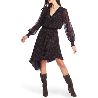 1.state Long Sleeve Asymmetrical Hem Chiffon Dress, Black