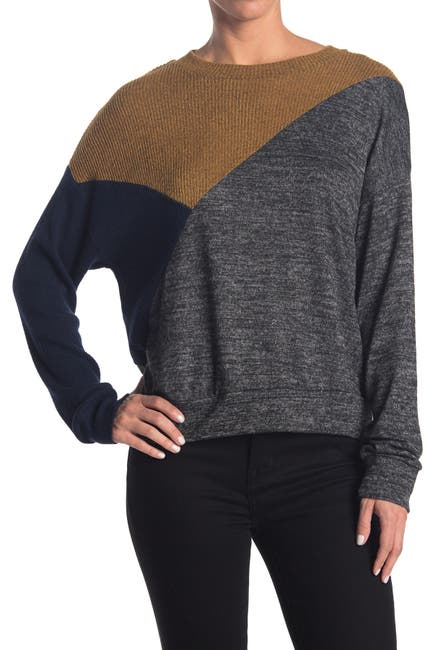 Image of Socialite Colorblock Brushed Pullover