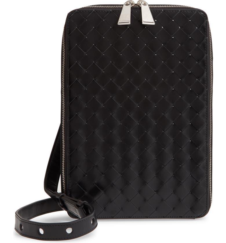 BOTTEGA VENETA Intrecciato Maxi Woven Leather Belt Bag, Main, color, NERO