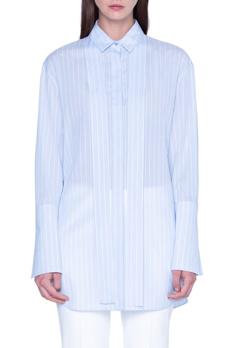 AKRIS Tie Neck Stripe Cotton Voile Tunic, Main, color, ICE