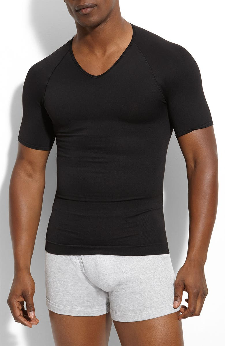 SPANX<SUP>®</SUP> 'Zoned Performance' V-Neck T-Shirt, Main, color, BLACK