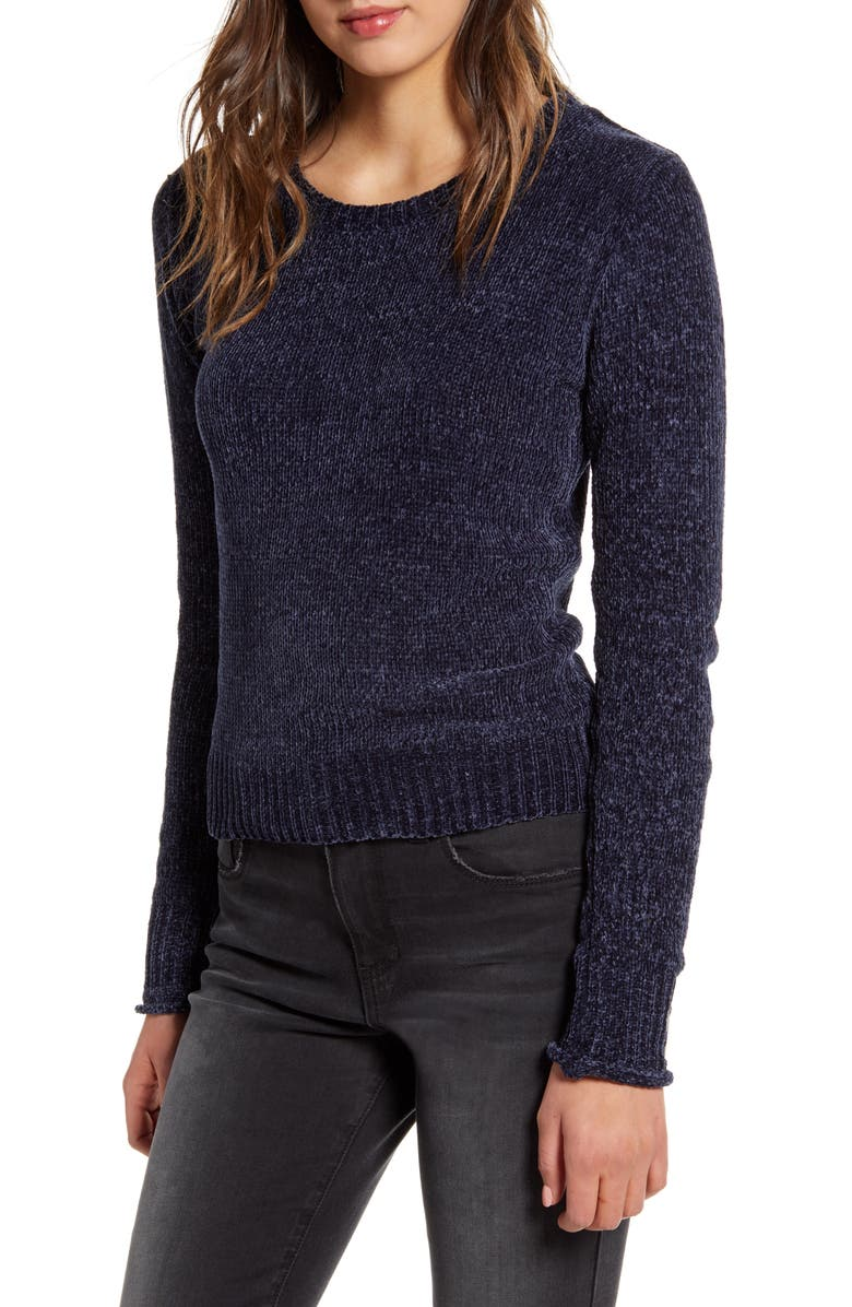 LOVE BY DESIGN Chenille Sweater, Main, color, NAVY HORIZON