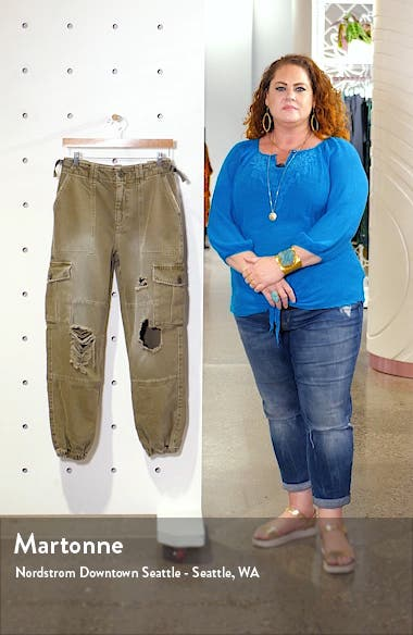 Distressed Cuffed Utility Cargo Pants, sales video thumbnail
