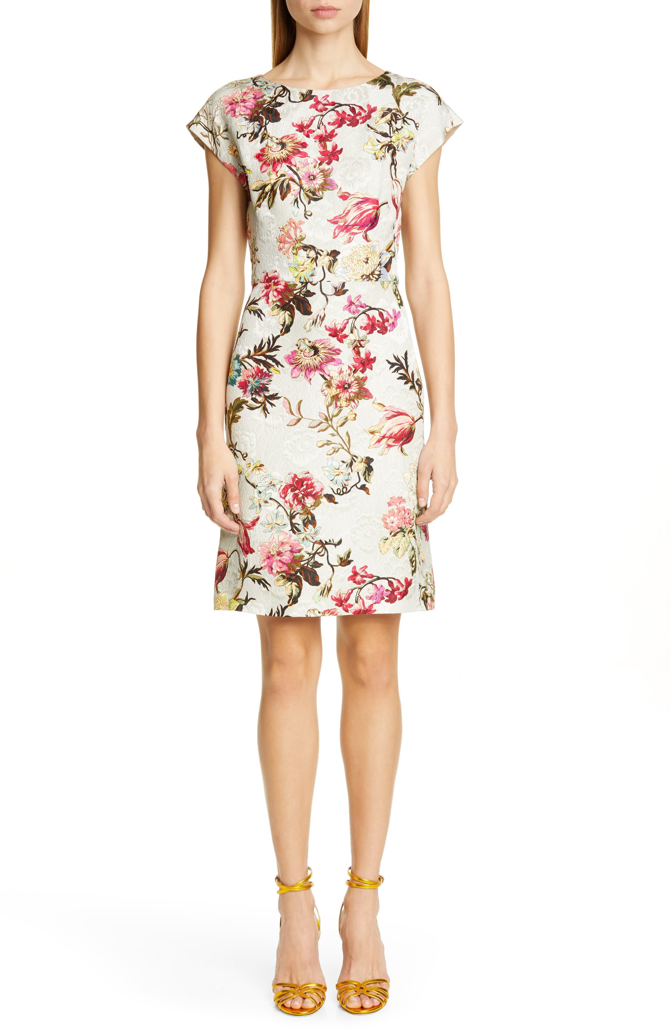 Etro Floral Jacquard Sheath Dress, 8 IT - White