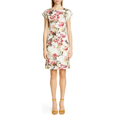 Etro Floral Jacquard Sheath Dress, US / 40 IT - White