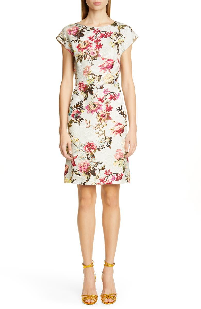 ETRO Floral Jacquard Sheath Dress, Main, color, WHITE