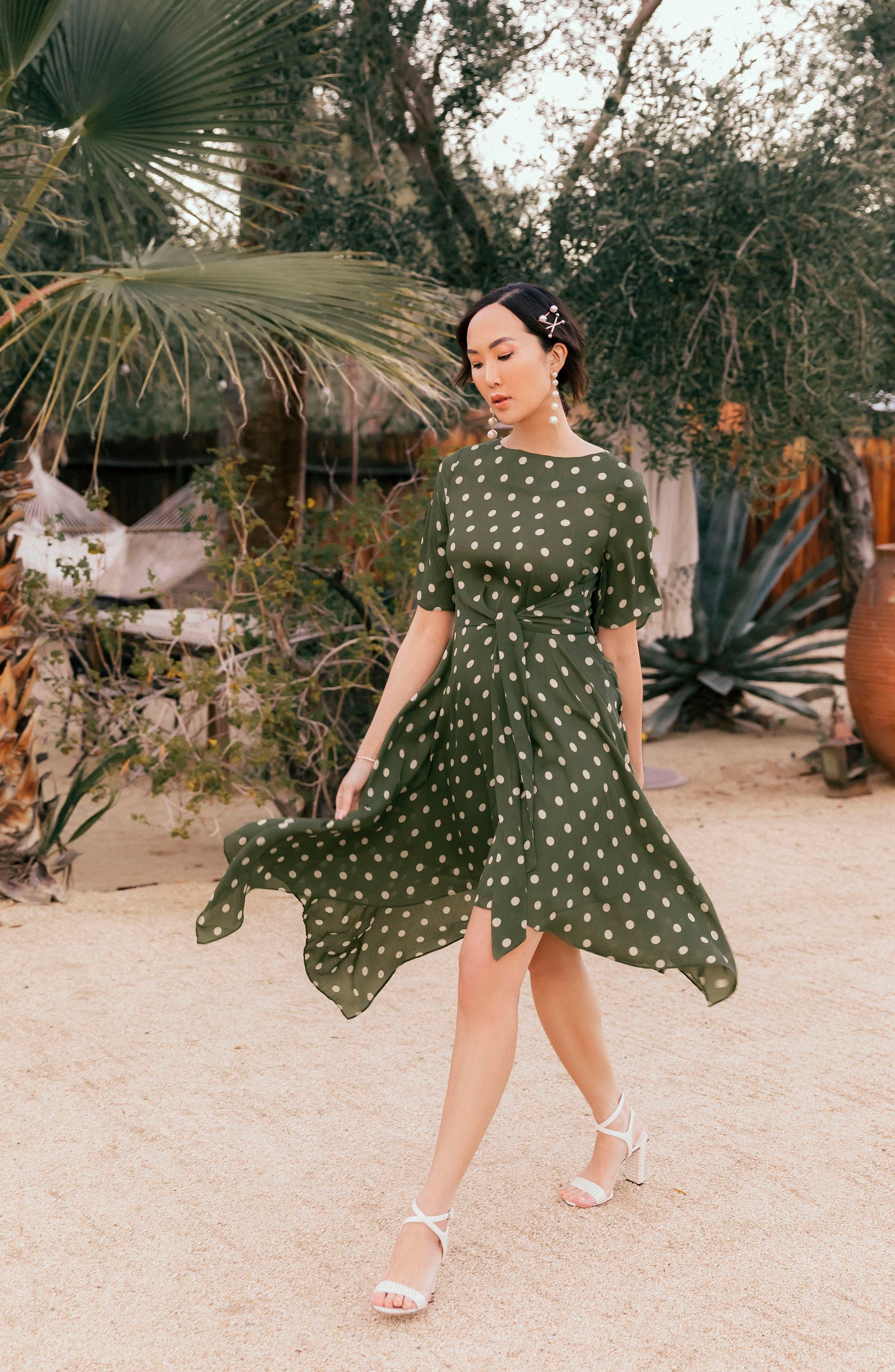 ,                             Chriselle Lim Marie Handkerchief Hem Midi Dress,                             Alternate thumbnail 8, color,                             900