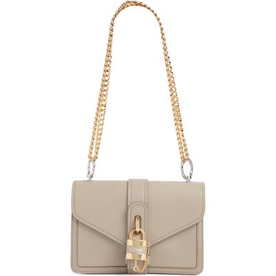 Chloe Aby Leather Shoulder Bag - Grey