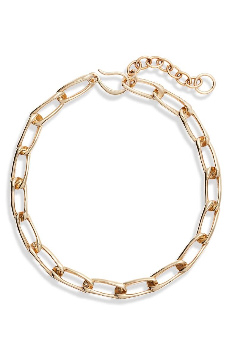 FARIS Classic Chain Collar Necklace, Main, color, BRONZE