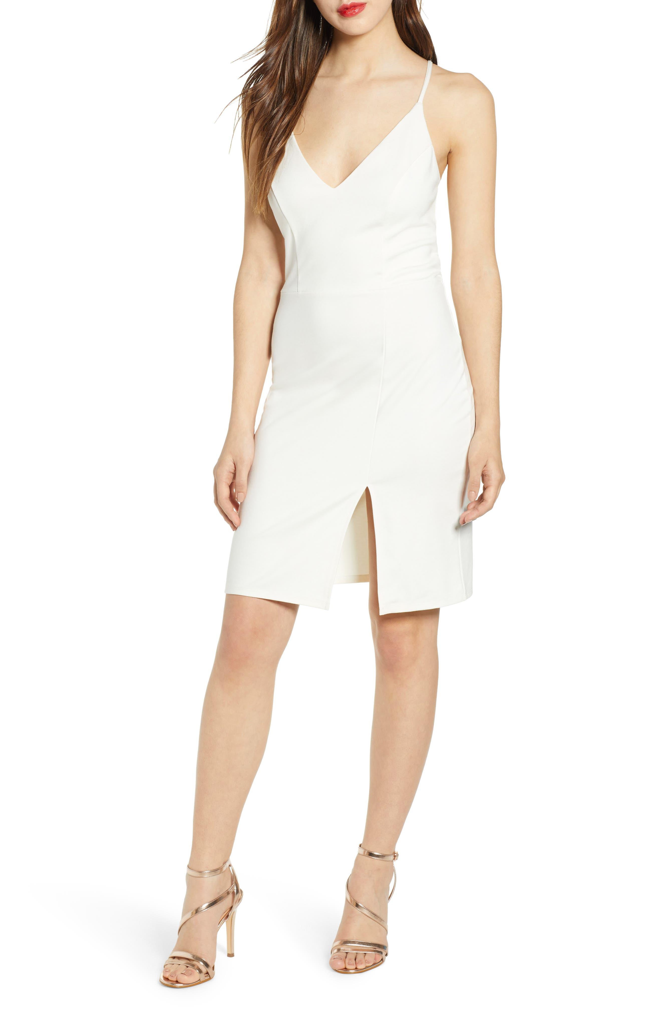 Leith V-Neck Body-Con Dress, Ivory
