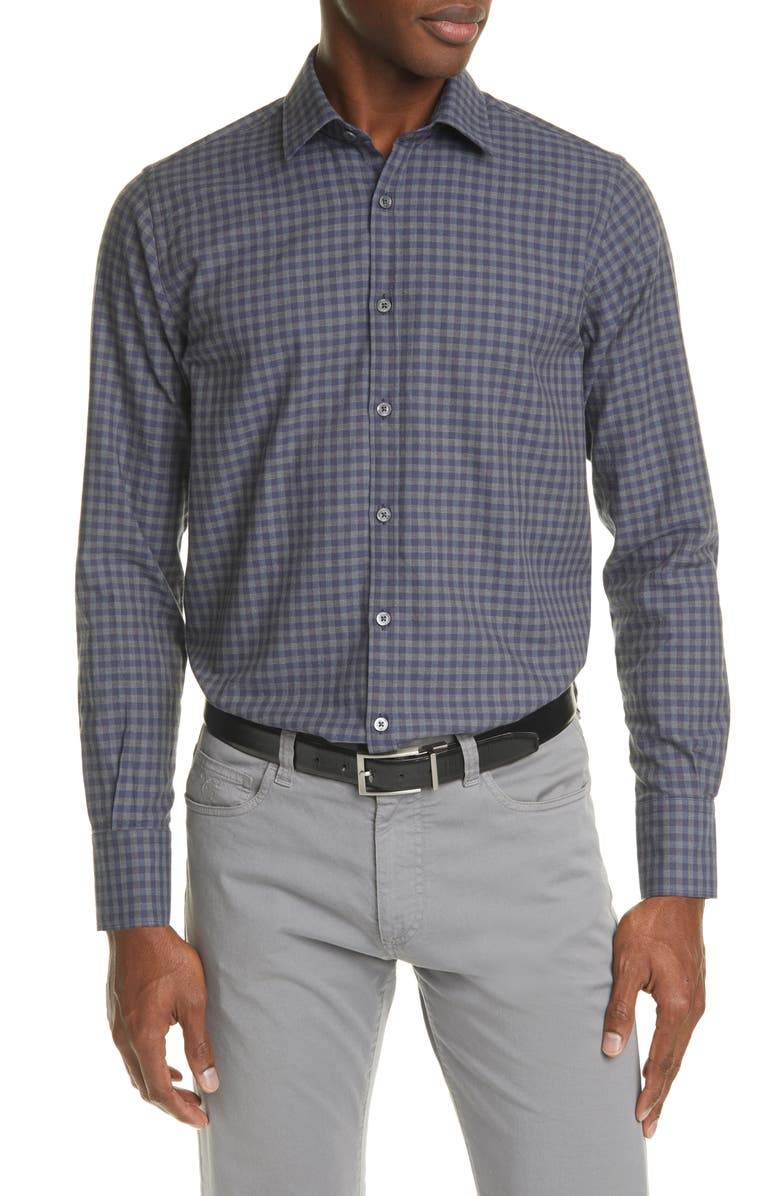 CANALI Regular Fit Check Button-Up Shirt, Main, color, BLUE