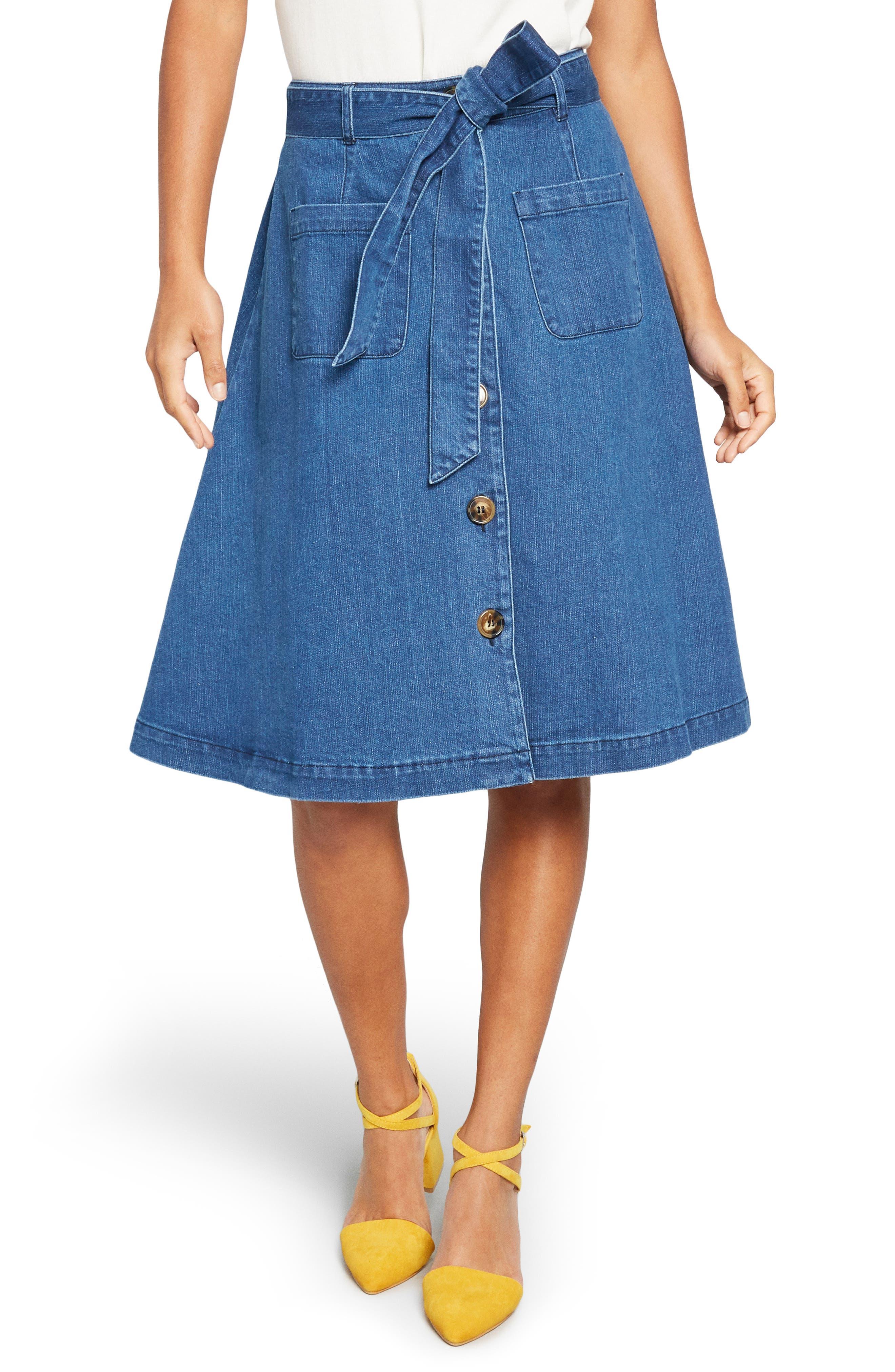 60s Skirts | 70s Hippie Skirts, Jumper Dresses Womens Modcloth Sash Belted A-Line Denim Skirt $44.98 AT vintagedancer.com