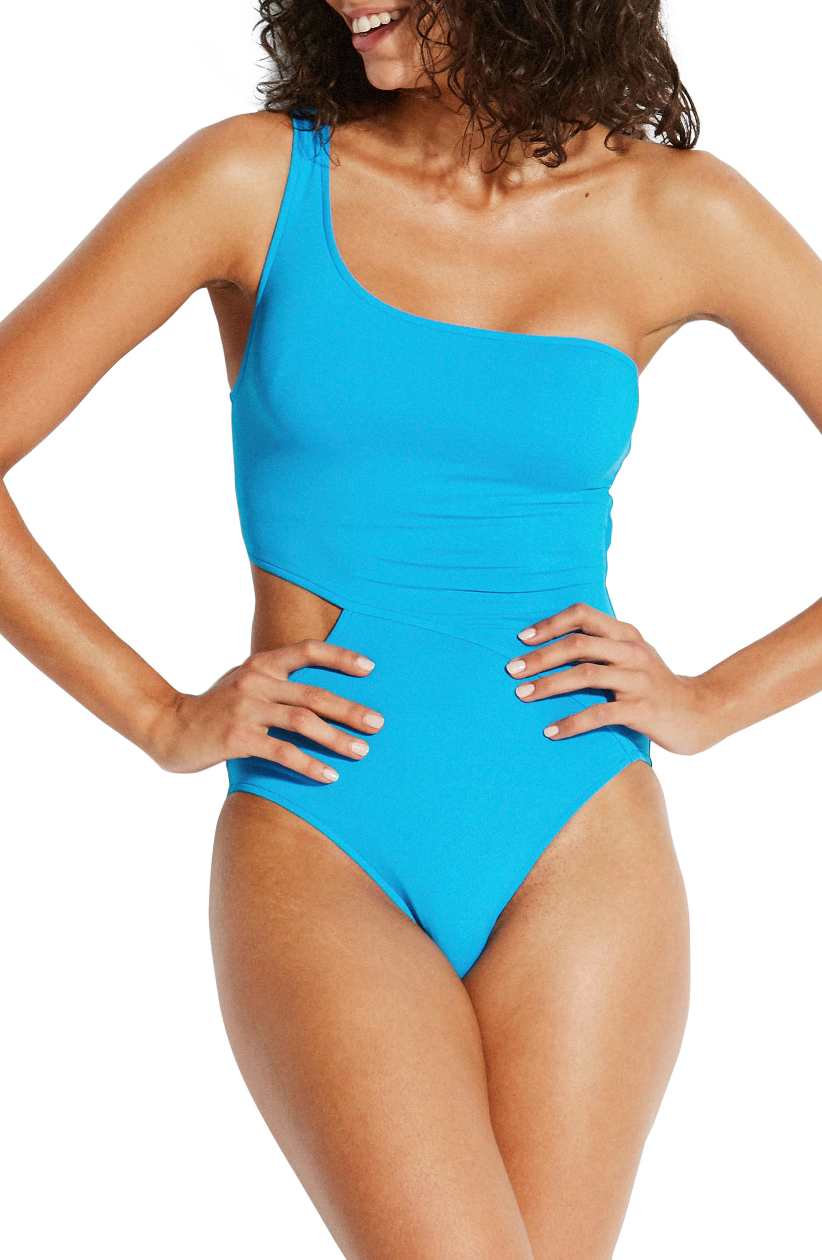 Seafolly Active One-Shoulder One-Piece Swimsuit, US / 14 AU - Blue