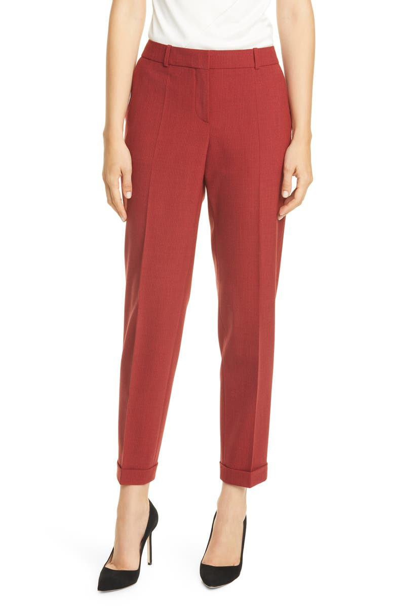 BOSS Tocanes Pinstripe Cuffed Suit Pants, Main, color, RUBY FANTASY