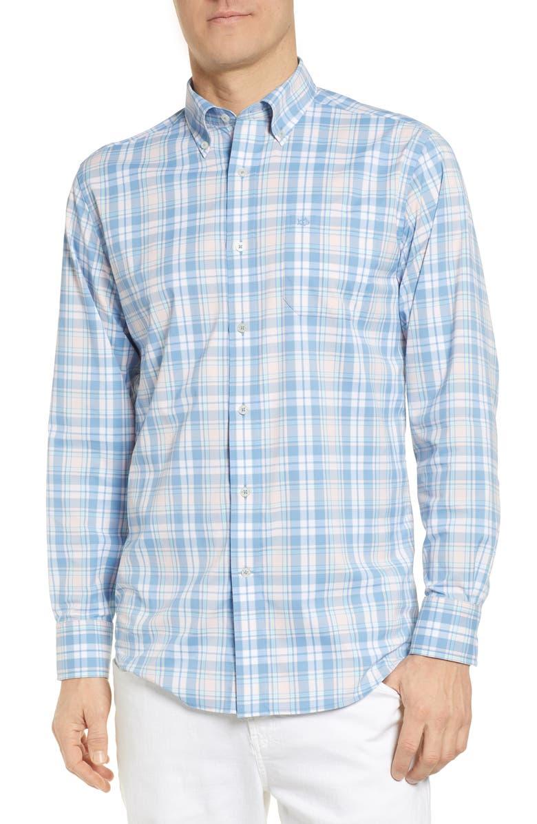 SOUTHERN TIDE Inland Plaid Intercoastal Regular Fit Performance Shirt, Main, color, ALLURE BLUE