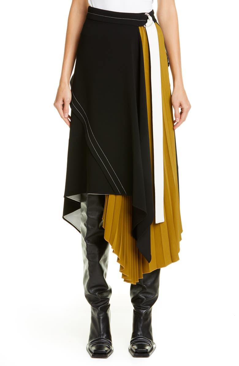 PROENZA SCHOULER Asymmetrical Side Pleat Crepe Skirt, Main, color, BLACK/ OLIVE