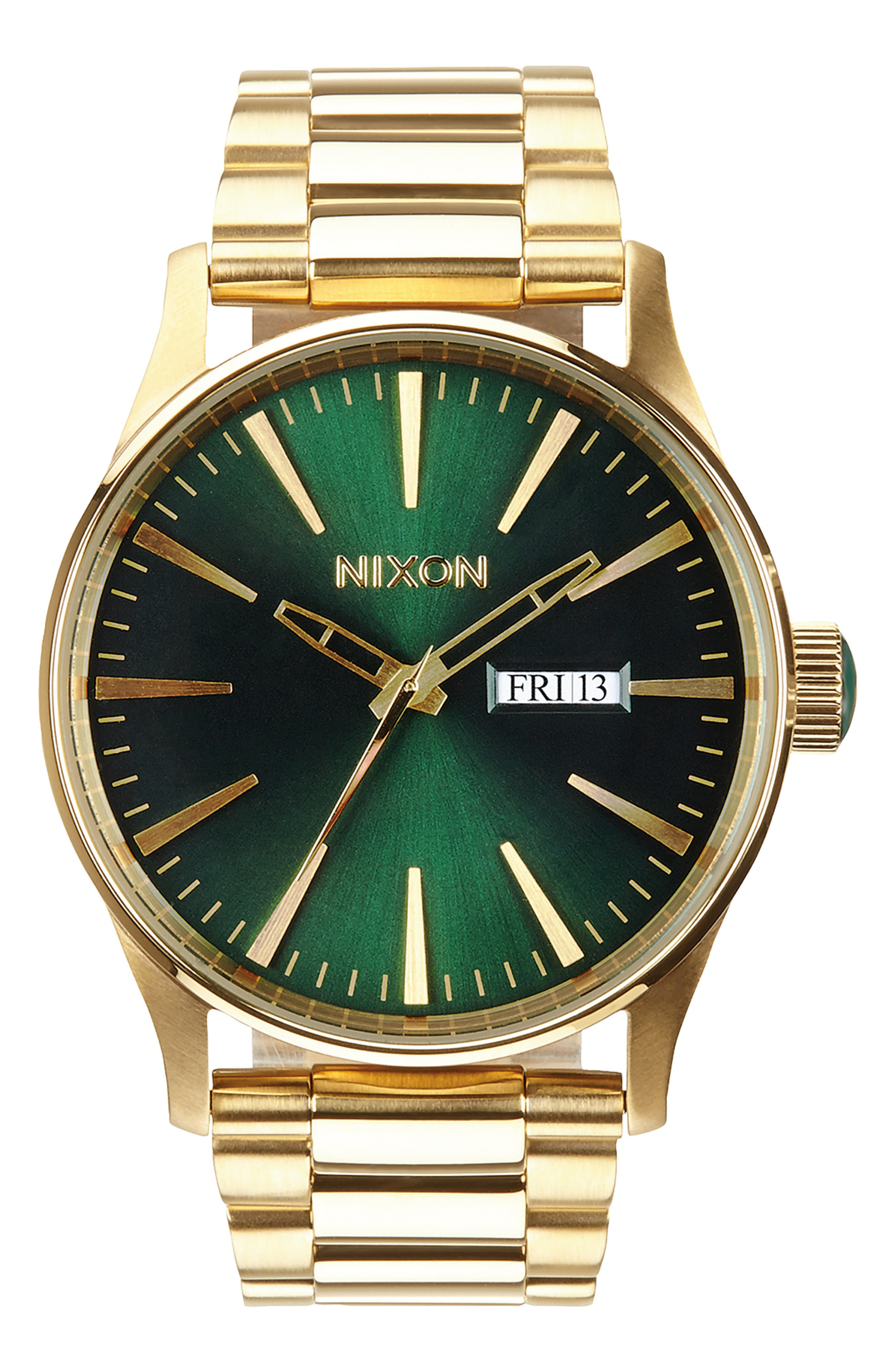 ,                             'The Sentry' Bracelet Watch, 42mm,                             Main thumbnail 1, color,                             GOLD/ GREEN/ GOLD