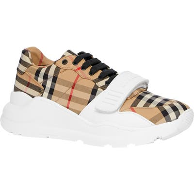 Burberry Regis Vintage Check Lace-Up Sneaker - Beige