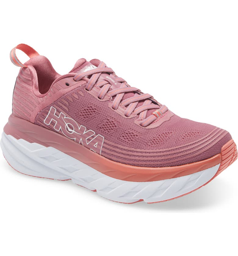 HOKA ONE ONE Bondi 6 Running Shoe, Main, color, HEATHER ROSE/ LANTANA