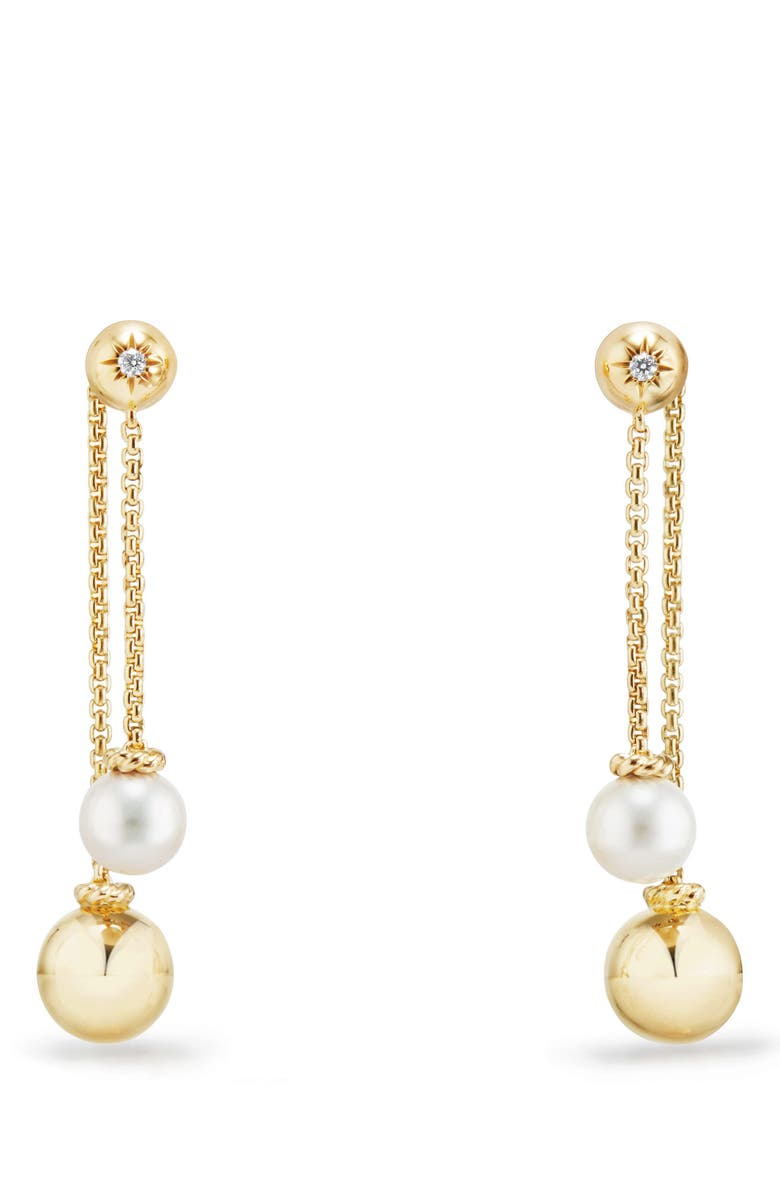DAVID YURMAN Solari Chain Drop Earrings with Diamonds in 18K Gold, Main, color, PEARL