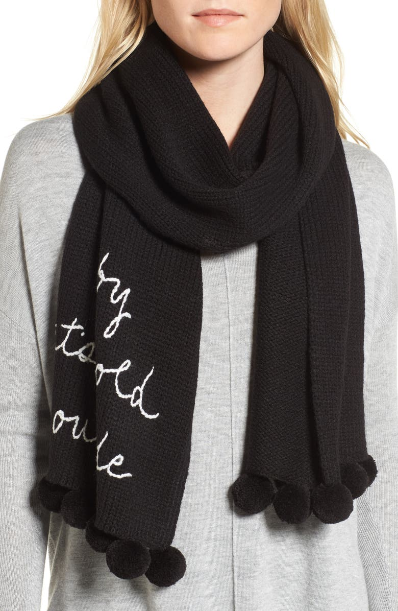 KATE SPADE NEW YORK baby it's cold outside pom scarf, Main, color, 001