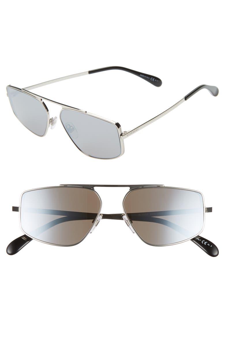 GIVENCHY 56mm Rectangle Sunglasses, Main, color, PALLADIUM