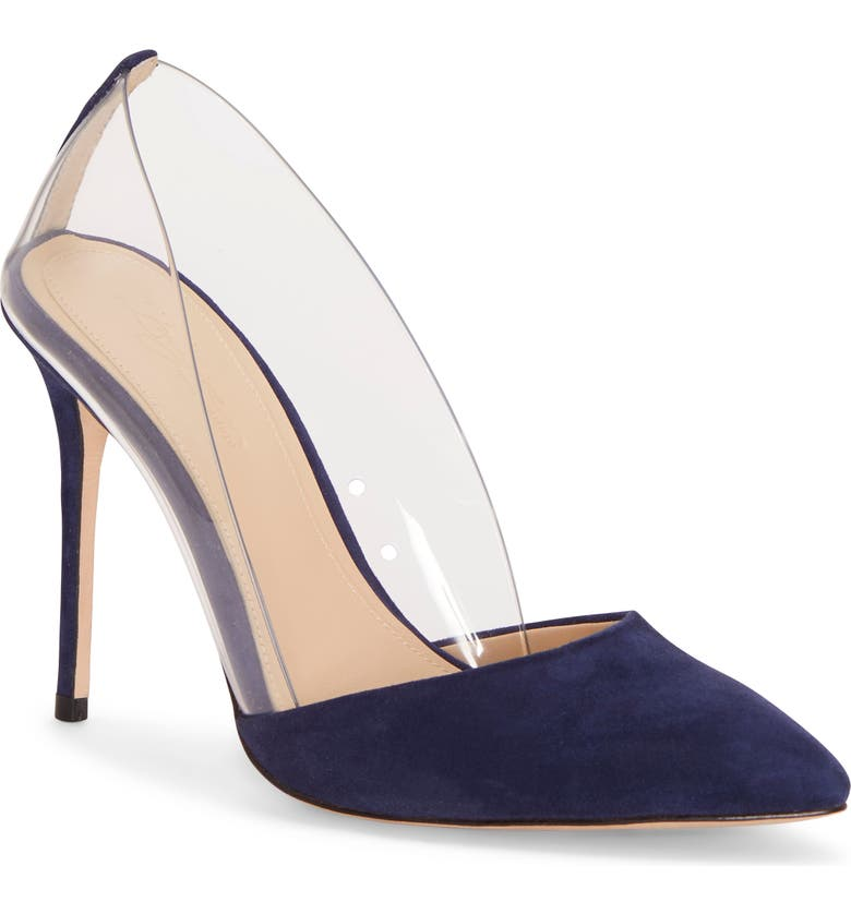 IMAGINE BY VINCE CAMUTO Ossie Clear Pump, Main, color, INKWELL BLUE SUEDE