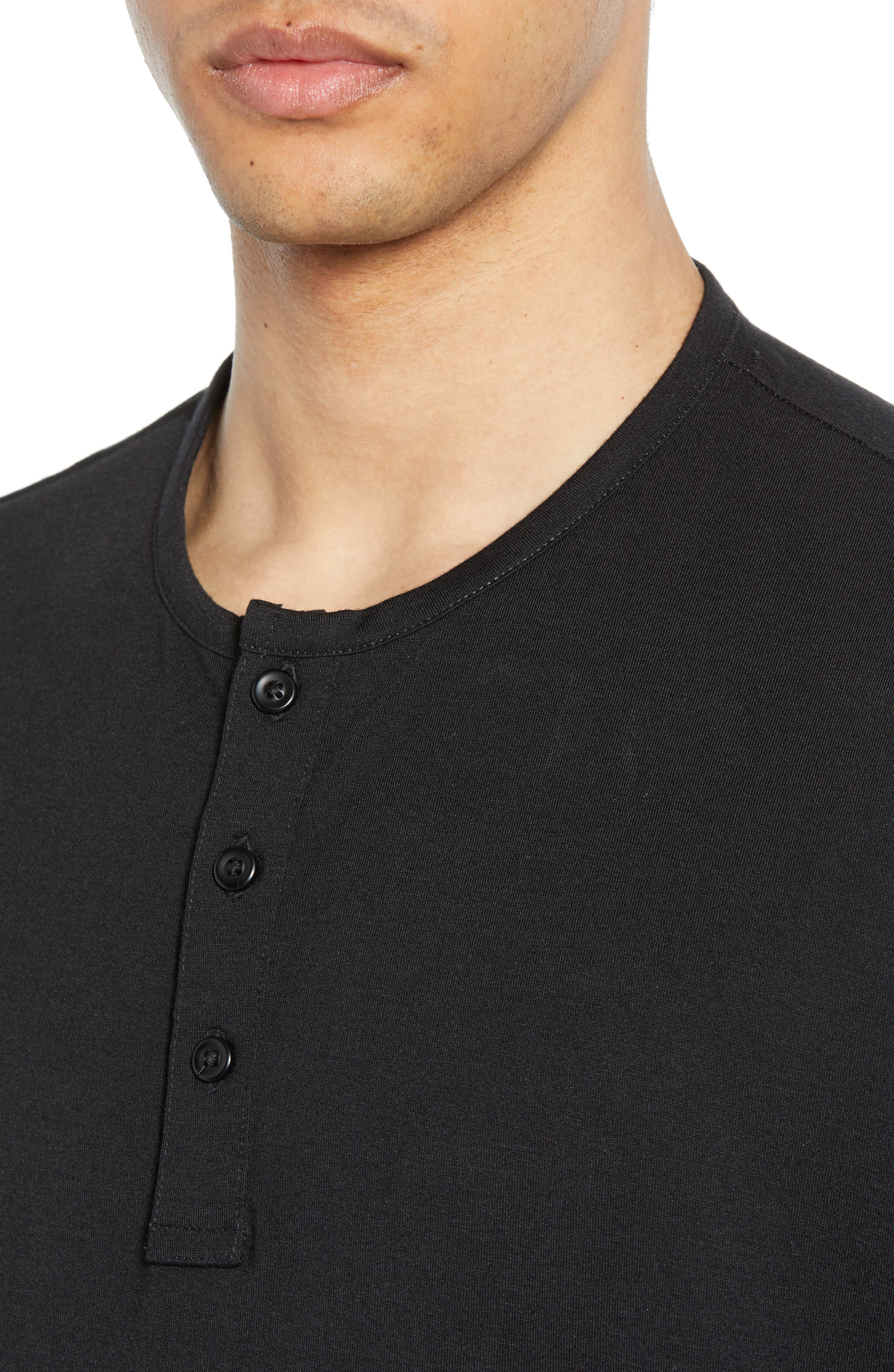 ,                             Solid Henley,                             Alternate thumbnail 4, color,                             BLACK