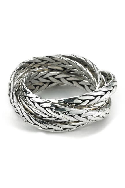 Image of Samuel B Jewelry Sterling Silver Braided Design Stacked Up Ring