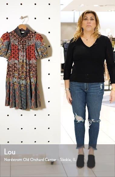 Janis Smock Neck Floral Patch Print Minidress, sales video thumbnail