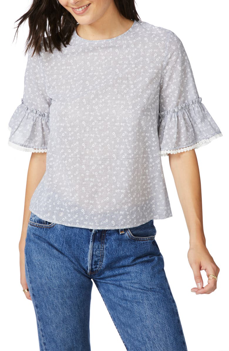 COURT & ROWE Floral Stripe Ruffle Cuff Top, Main, color, 001