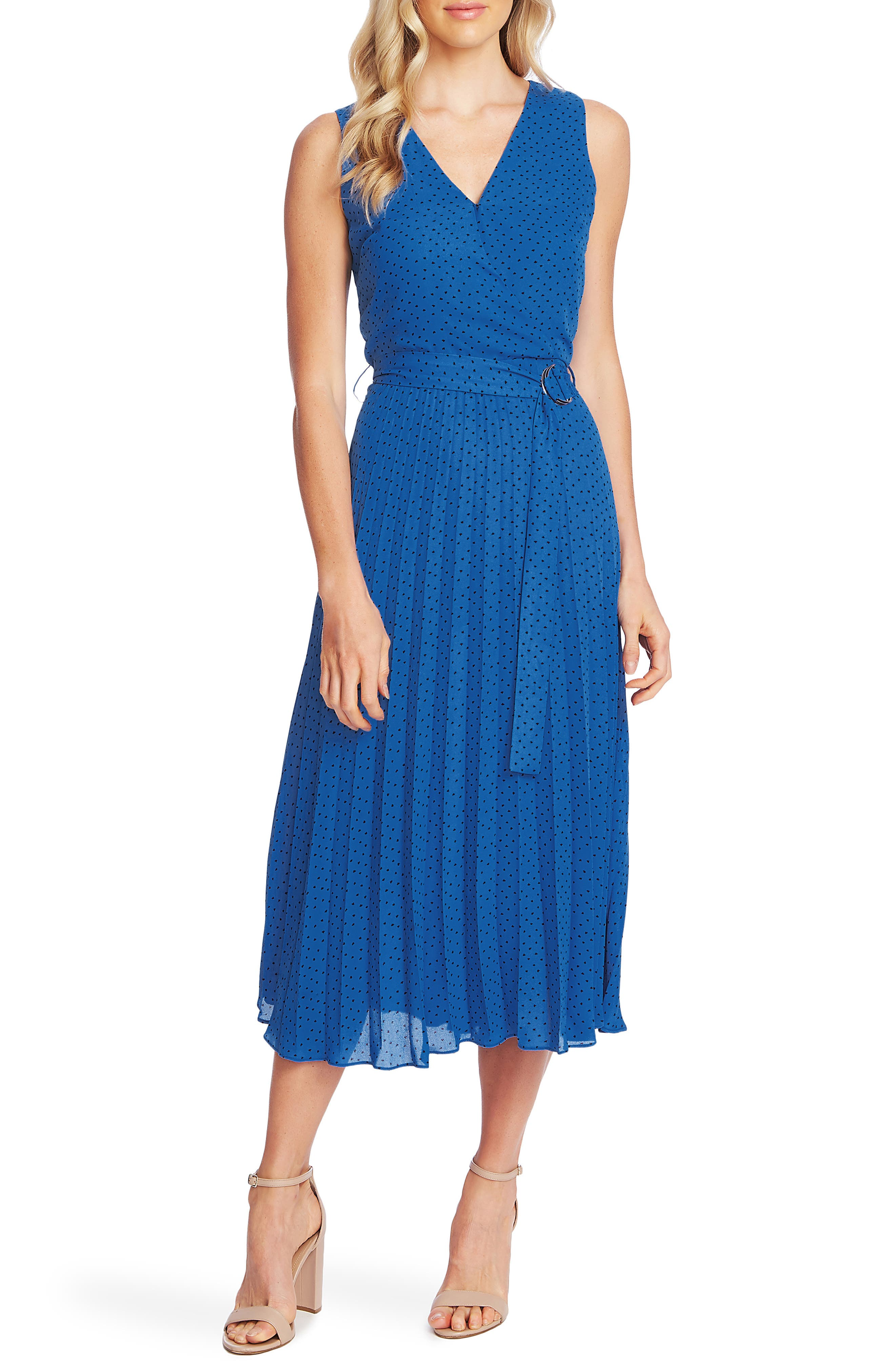 70s Prom, Formal, Evening, Party Dresses Womens Vince Camuto Ditsy Dot Sleeveless Pleated Midi Dress Size 12 - Blue $139.00 AT vintagedancer.com