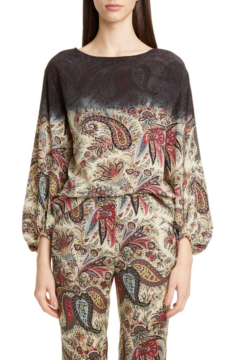 ETRO Dégradé Paisley Print Silk Blouse, Main, color, 002