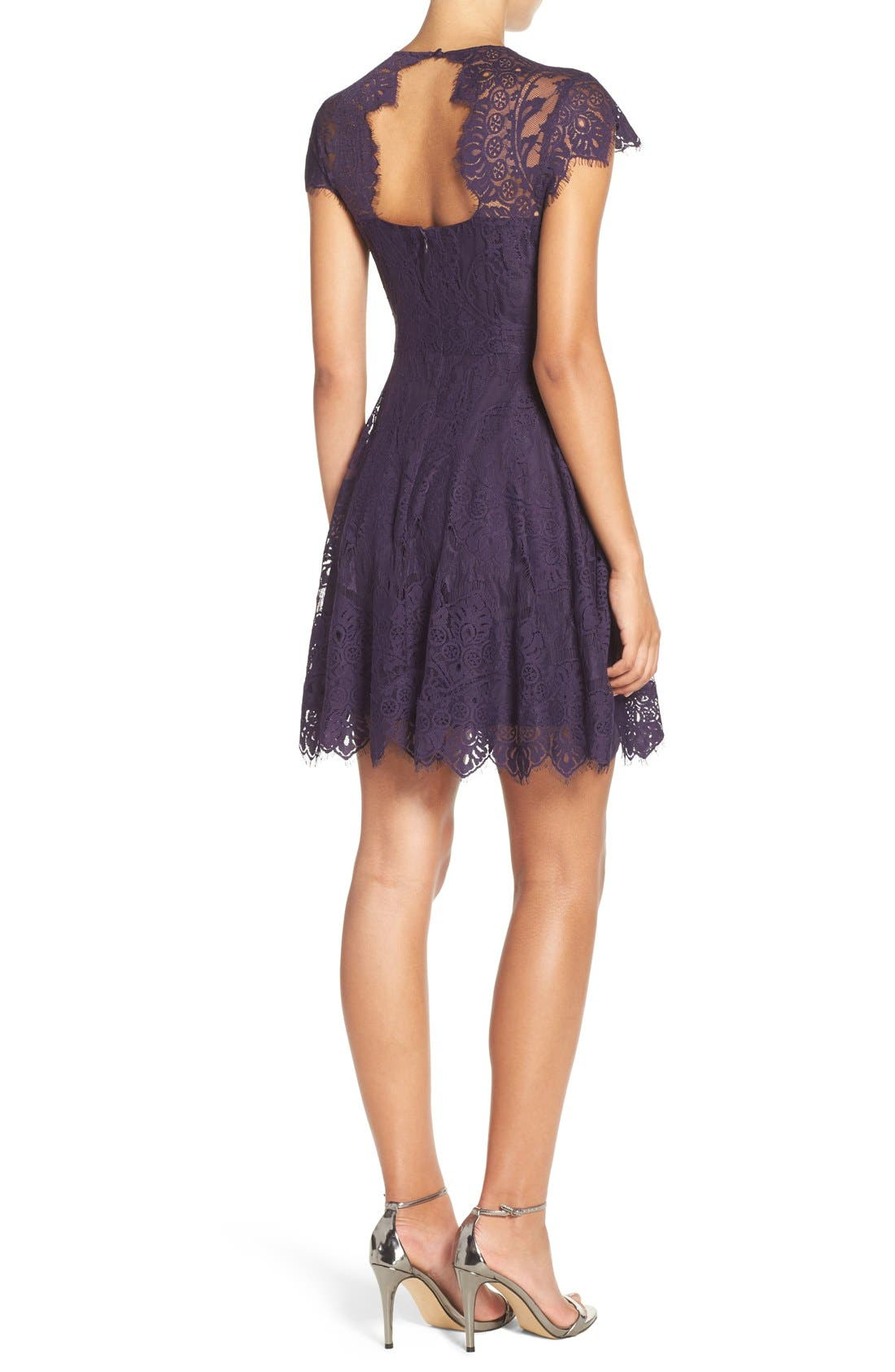 ,                             Rhianna Open Back Lace Fit & Flare Cocktail Dress,                             Alternate thumbnail 64, color,                             533