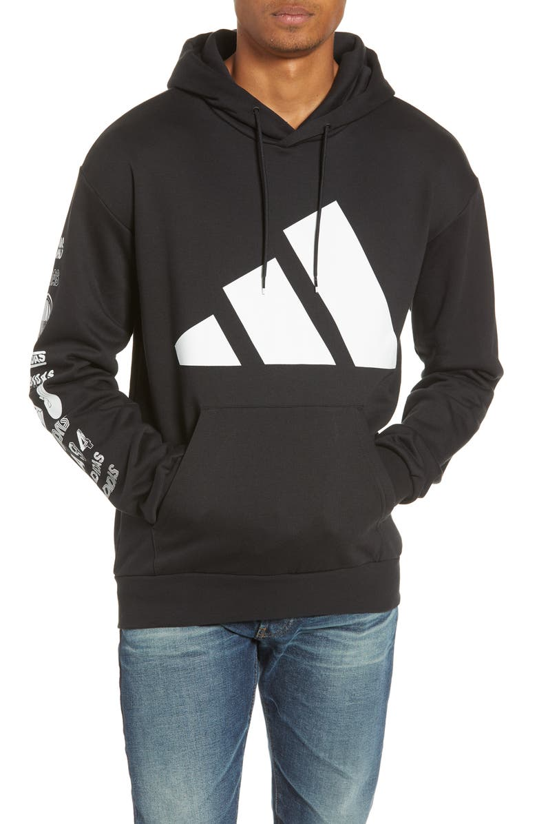 ADIDAS Athletics Pack Logo Cotton Blend Hoodie, Main, color, BLACK