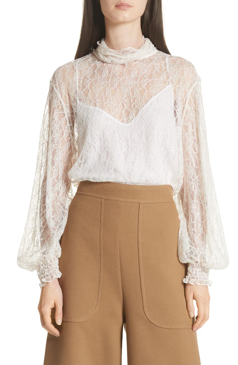 53ecdd1510 See by Chloé Sheer Lace Blouse | Nordstrom