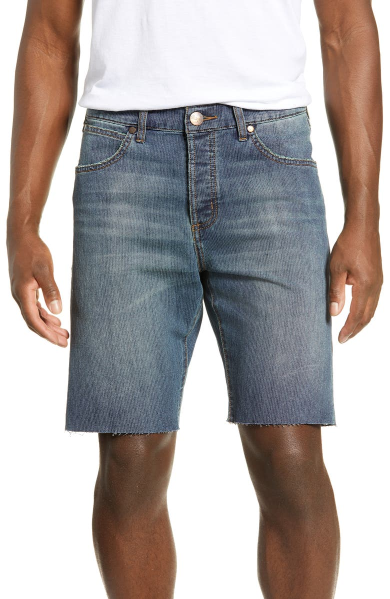 WRANGLER Slider Tapered Cut Off Denim Shorts, Main, color, TICKING STRIPE