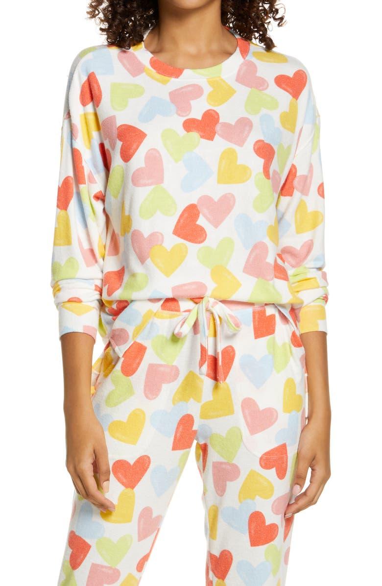 BP. Comfy Sleep Top, Main, color, IVORY EGRET HAPPY HEARTS