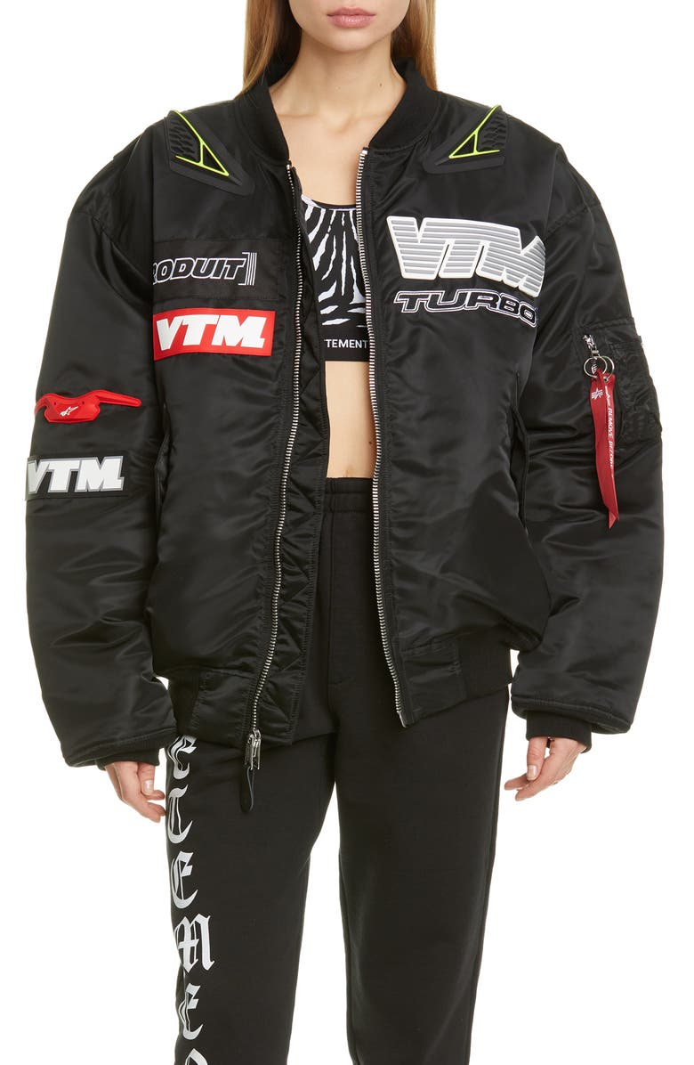 VETEMENTS Motorcycle Bomber Jacket, Main, color, BLACK