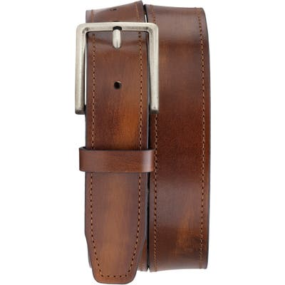 Trask Keystone Leather Belt, Cognac Italian Stained Calf