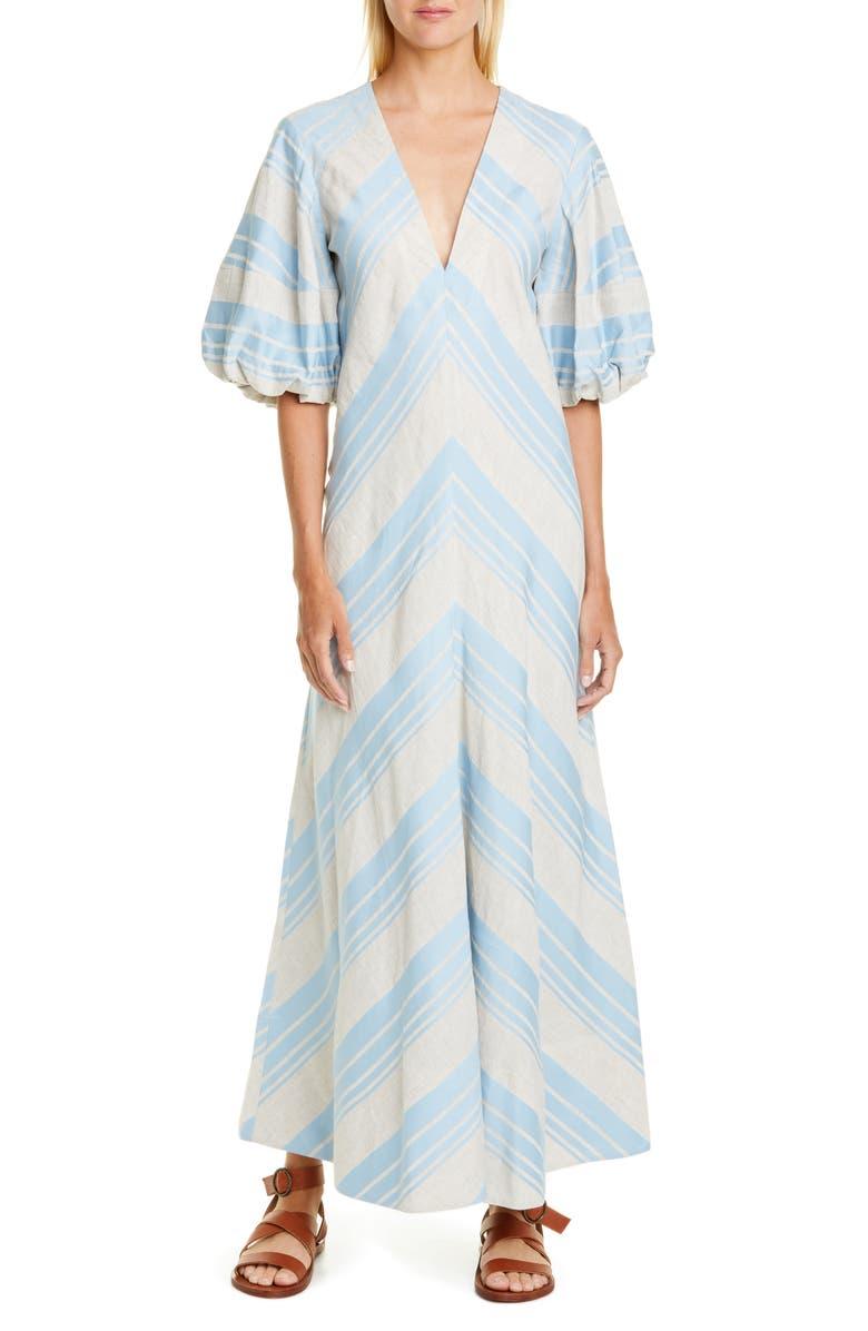 LEE MATHEWS Tilda Puff Sleeve Dress, Main, color, CELADON BLUE