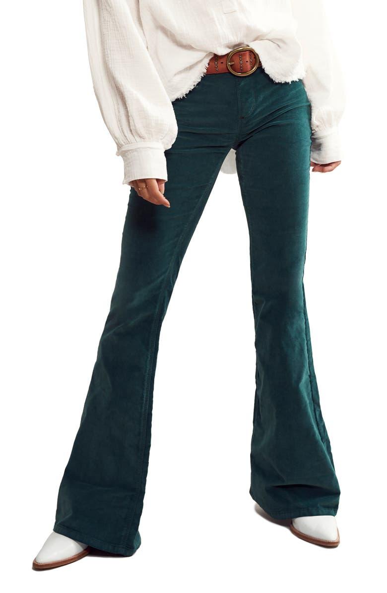 FREE PEOPLE Pull-On Flare Corduroy Pants, Main, color, PINE NEEDLE